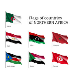 Northern africa waving flag set vector