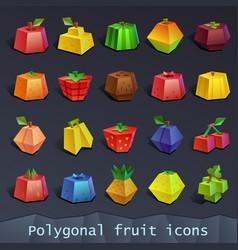 Polygonal fruit icons vector