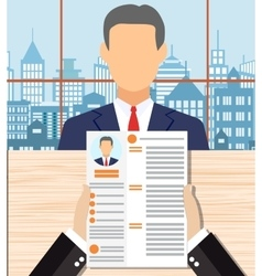 Recruiters hands holding cv in office vector