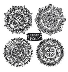 Set of ethnic mandala meditation Isolated on the vector image