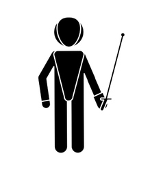 silhouette fencing player sport athlete vector image