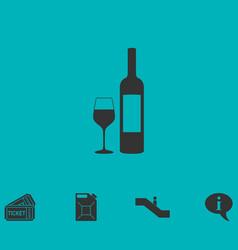 Wine icon flat vector
