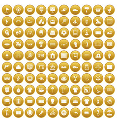 100 playground icons set gold vector