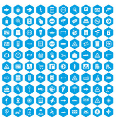 100 pointers icons set blue vector