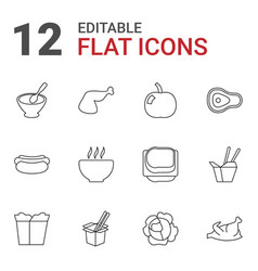 12 meal icons vector