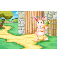 A bunny holding a carrot outside the barn vector