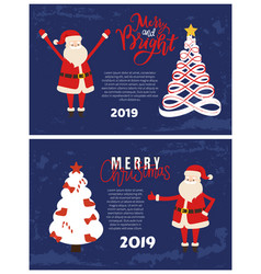 abstract spruces star top merry bright greetings vector image