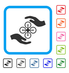 Air copter care hands framed icon vector