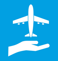Airplane and palm icon white vector