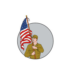 american soldier holding usa flag circle drawing vector image
