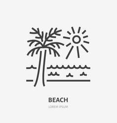 beach flat line icon sign of sea palm and vector image