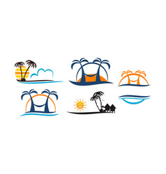 Beach travel holiday set vector