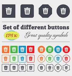 Bin icon sign Big set of colorful diverse vector image