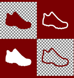 Boot sign bordo and white icons and line vector