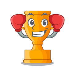 boxing character gold trophy award for competition vector image