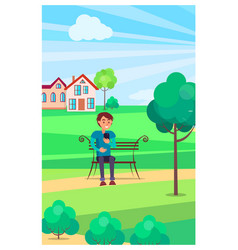 boy sits on bench with smartphone in green park vector image