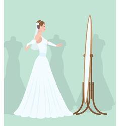 Bride in the mirror vector