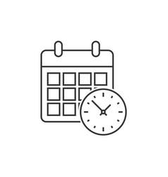Calendar with clock vector