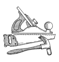 Carpentry tools engraving style vector
