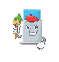 Cartoon character key card artist with a brush vector