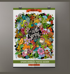 cartoon colorful hand drawn doodles spring poster vector image