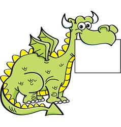 Cartoon dragon holding a sign vector image