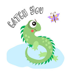 cartoon with cute lizard vector image