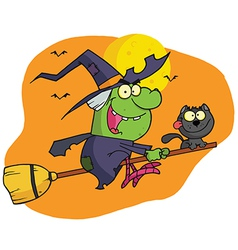 Character Harrison Rode A Broomstick With A Cat vector