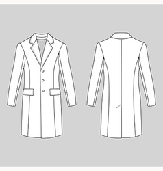 Coat outlined template front back vector
