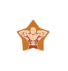 creative bodybuilder star logo design vector image