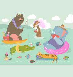 cute animals resting on river happy summer vector image