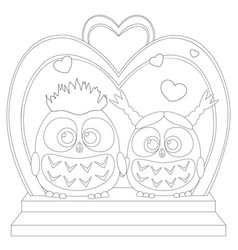 Cute baby owl in love black and white wedding vector