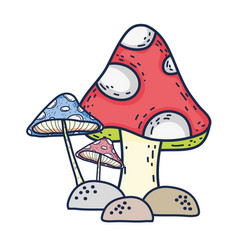 Cute fairytale fungus icon vector