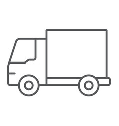 delivery truck thin line icon traffic and vehicle vector image