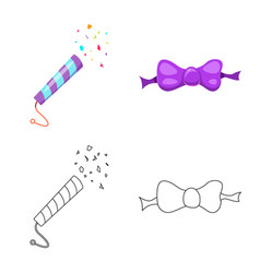 Design of party and birthday icon set of vector