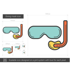Diving mask line icon vector