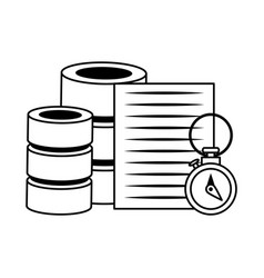Documents files system archives cartoon in black vector