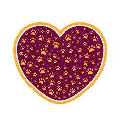 dog or cat paw in heart pet care love icon vector image