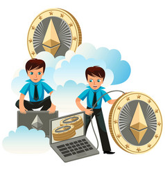ethereum crypto currency poster vector image