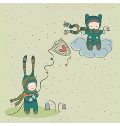 Fabulous holiday with characters flying a kite vector
