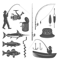Fishing Decorative Graphic Icons Set vector image