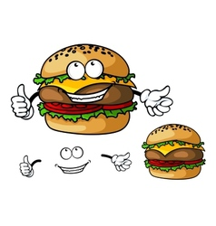 Fun cartoon cheeseburger vector image