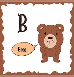Funny cartoon animals b letter cute alphabet vector