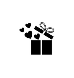 Gift box with hearts solid icon love present vector