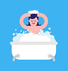 girl in bath isolated woman washing bath and foam vector image