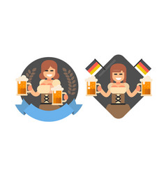 girl with beer oktoberfest style vector image vector image