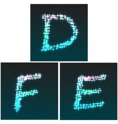 Glow font D E F vector