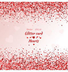 greeting card with hearts red sparkle shimmer vector image