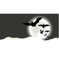 halloween background with flying bats vector image