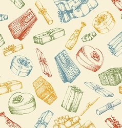 Hand drawn pattern with gift boxes vector image